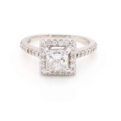 1.36 ctw. Princess Cut Diamond set in 14k White Gold Surrounded by a Halo