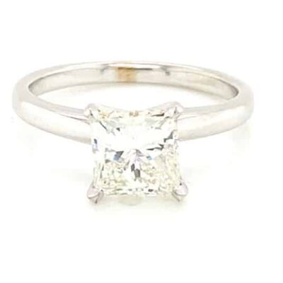 2.27 ct. Princess Cut Diamond Ring in a 14K White Gold Solitaire Setting