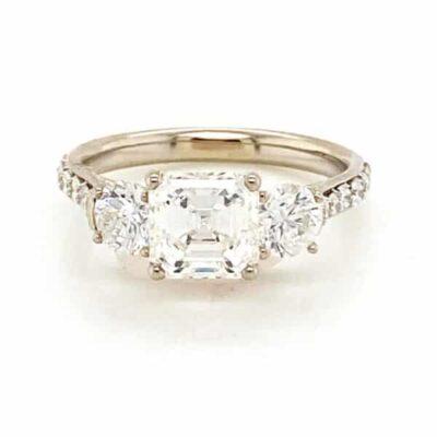2.75 ctw. Three Stone Asscher Cut Diamond Engagement Ring in 14K White Gold