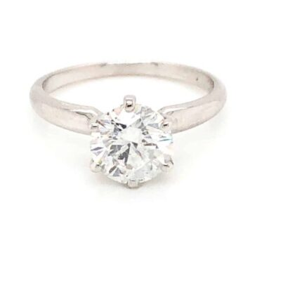 1.82 ct. Round Cut Diamond Solitaire Ring in 14K White Gold