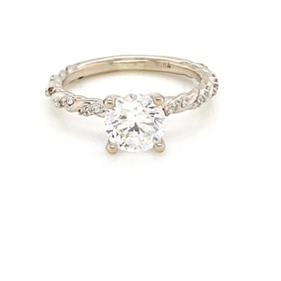 1.42 ctw. Engagement Ring with a Brilliant Round Cut Stone and a Twisted Diamond Setting
