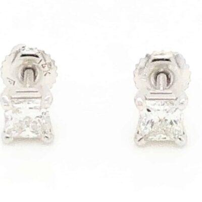 0.53 ctw. Princess Cut Diamond Stud Earrings in 14k White Gold