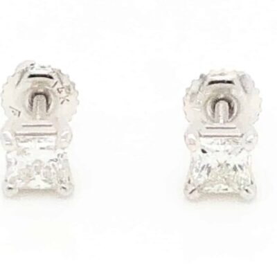 0.72 ctw. Princess Cut Diamond Stud Earrings in 14k White Gold