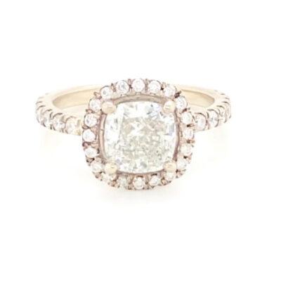 2.45 ctw. Cushion Cut Diamond in a Glittering Halo Diamond Setting