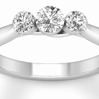 2.05 ctw. Three Stone Round Diamond Ring in 14k White Gold