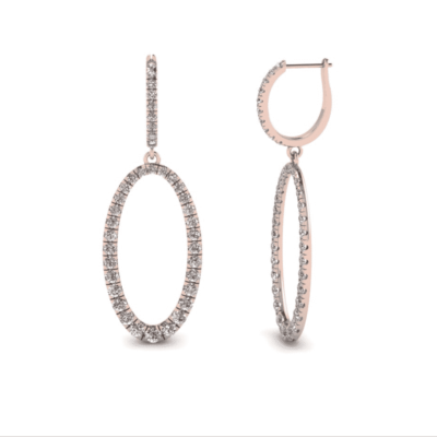 1.50 ctw. Oval Dangle Earrings in 14k Gold