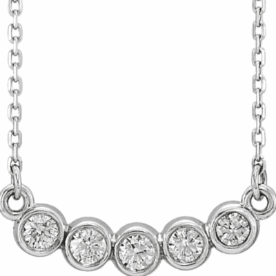 0.33 ctw. Five Stone Bezel-Set Necklace in 14K White Gold