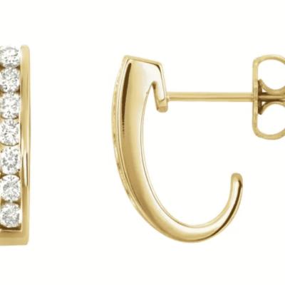 0.53 ctw. Diamond J-Hoop Earrings in Lustrous Gold