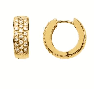 0.33 ctw. Hoop Earrings Encrusted in 14K Yellow Gold