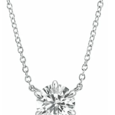 0.87 ctw. Diamond Solitaire Necklace in Glittering White Gold