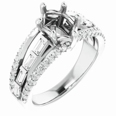1.75 ctw. Diamond Semi-Set Engagement Ring Setting in Platinum
