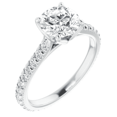 1.02 ctw. Engagement Ring Setting in Glistening 14K White Gold