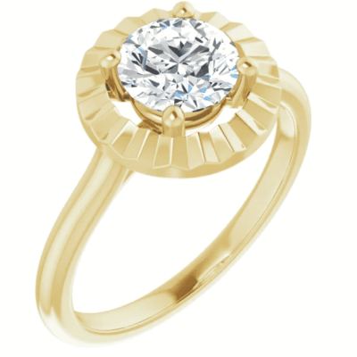 1.07 ct. Glimmering Solitaire Ring Setting in 14K Yellow Gold
