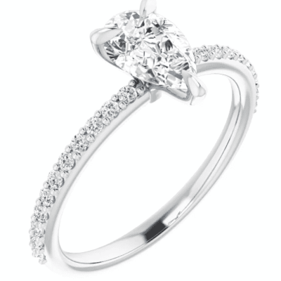 1.25 ctw. Pear Engagement Ring Setting in a Sharp 14K White Gold