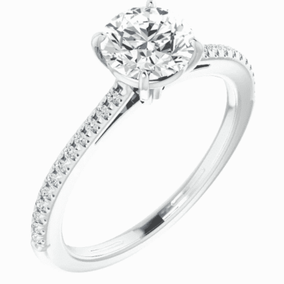 0.35 ctw. French-Set Engagement Ring Semi Setting in 14K White Gold
