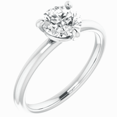 1.04 ct. Solitaire Engagement Ring Framed in 14K White Gold