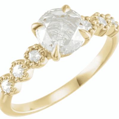 1.10 ctw. Semi-Set Rose-Cut Diamond Engagement Ring on 14K Yellow Gold