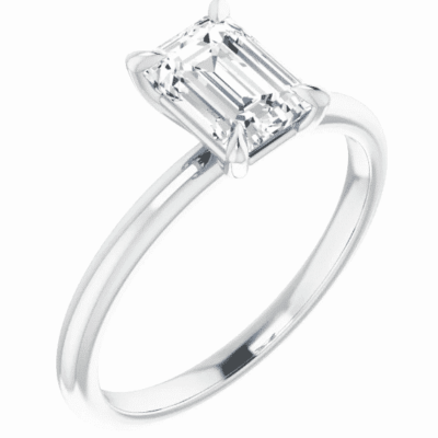 1.21 ct. Emerald-Cut Diamond Ring in a 14K White Gold Solitaire Setting