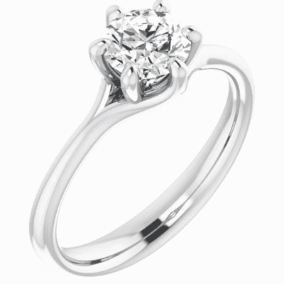 0.83 ct. Solitaire Engagement Ring in a Gleaming 14K White Gold