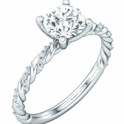 1.12 ctw. Twisted Pavé Engagement Ring with a Round-Cut Gem and 14K White Gold
