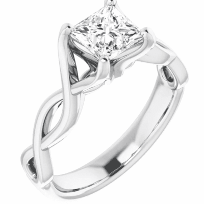 1.21 ct. Twisted Princess Cut Diamond Ring in a 14K White Gold