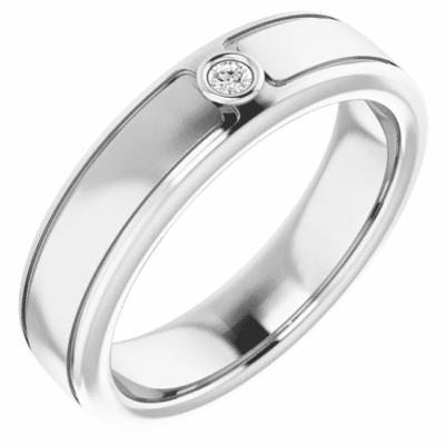 0.10 ct. Minimalist Round Cut Diamond Wedding Band in 14K White Gold