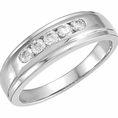0.33 ctw. Channel Set Five Stone Diamond Wedding Band in 14K White Gold
