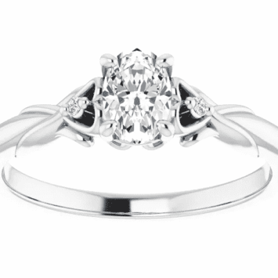 1.32 ctw. Oval Engagement Ring With Accented Side Stones in 14K White Gold