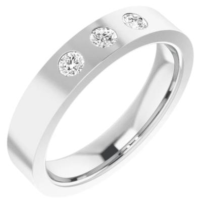 0.33 ctw. Flat Three Stone Diamond Wedding Band in a 14K White Gold Setting