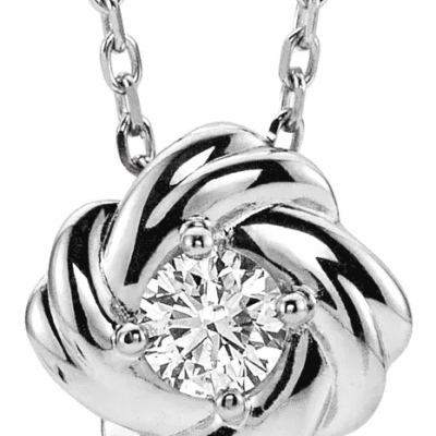 0.20 ctw. Diamond Knot Pendant in Intertwined 14K White Gold