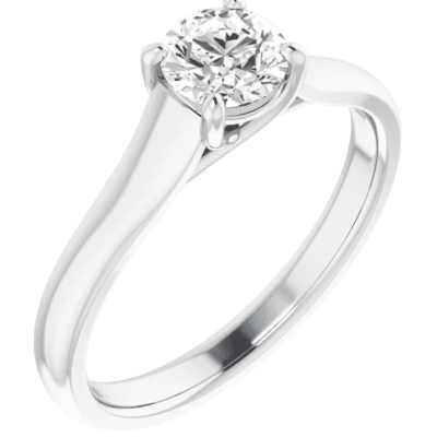 0.75 ctw. Sleek Solitaire Ring with a Round Cut Diamond in 14K White Gold