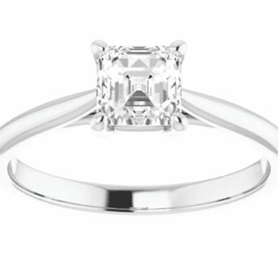 0.75 ct. Asscher Cut Diamond Solitaire Ring in 14K White Gold