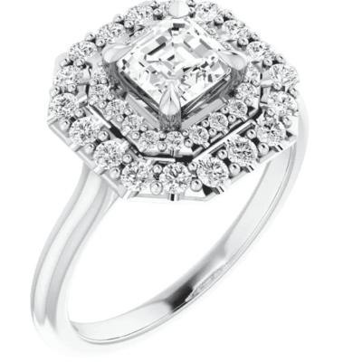 1.10 ctw. Asscher Cut Diamond Engagement Ring in a Halo of Diamonds