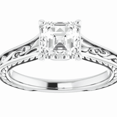 1.20 ct. Engraved Engagement Ring with a Asscher Cut Center Diamond in 14K White Gold