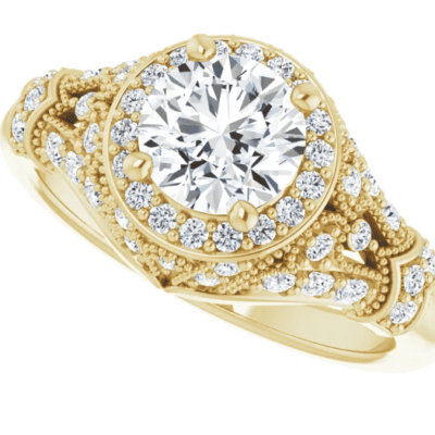 1.375 ctw. Vintage Round Cut Diamond Engagement Ring in Shimmering 14K Yellow Gold
