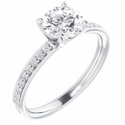 1.85 ctw. Round Cut Diamond Engagement Ring Setting in 14K White Gold