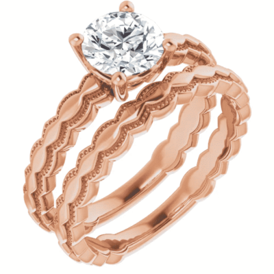 1.06 ct. Round Solitaire Engagement Ring Setting in 14K Rose Gold
