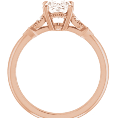 1.10 ctw. Accented Oval Cut Diamond Engagement Ring in 14K Rose Gold