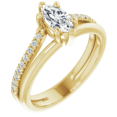 0.68 ctw. Marquise Accented Engagement Ring Setting in 14K Yellow Gold