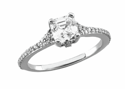 1.20 ct. Asscher Cut Accented Diamond Engagement Ring in 14K White Gold