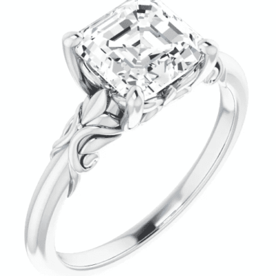2.02 ct. Customized Asscher Cut Diamond Engagement Ring in a Classic 14K White Gold Solitaire Setting