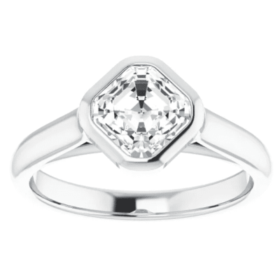 1.50 ct. Asscher Cut Diamond Engagement Ring in a 14K White Gold Bezel Setting