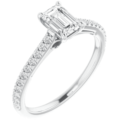 0.72 ctw. Emerald-Cut Diamond Engagement Ring in 14K White Gold with Side Stones