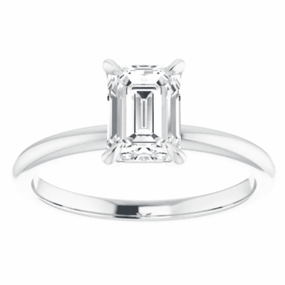 0.91 ct. Emerald Cut Diamond Solitaire Ring in 14K White Gold