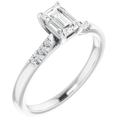 0.54 ctw. Accented Emerald Cut Diamond Engagement Ring in 14K White Gold