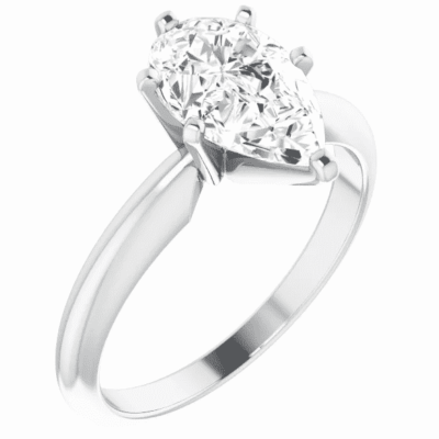 1.50 ct. Pear Cut Diamond Solitaire Engagement Ring in 14K White Gold