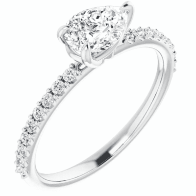 0.77 ctw. Pear Cut Diamond Engagement Ring in 14K White Gold
