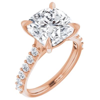 6.75 ctw. Cushion Cut Diamond Engagement Ring in 14K Rose Gold