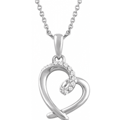 0.05 ctw. Diamond Heart Necklace in 14K White Gold