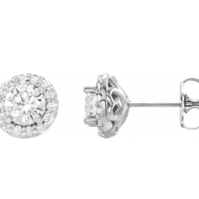 0.90 ctw. Diamond Halo Earrings in 14K White Gold